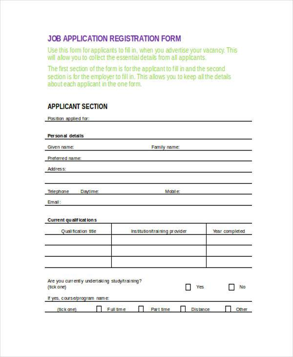 job application registration form in doc