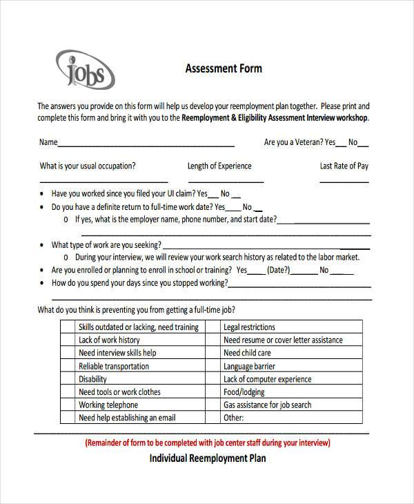Job Assessment Template  BesikEightyCo