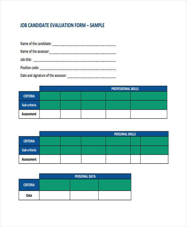 Sample Candidate Evaluation Forms   Free Documents In Word Pdf