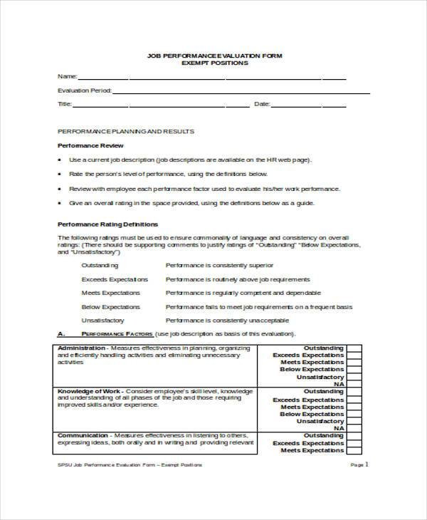 Employee Performance Evaluation Form Samples  Free Sample