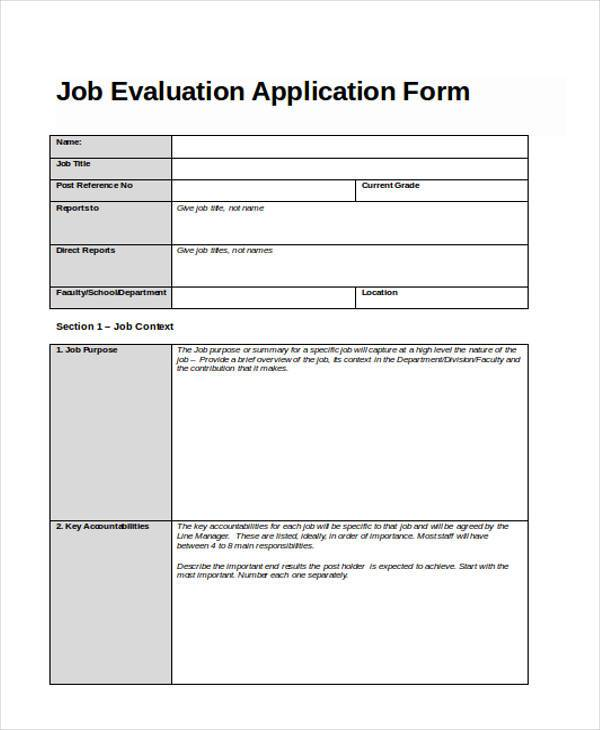 Job-Evaluation-Application-Form Job Application Forms Nz on blank generic, part time, free generic,