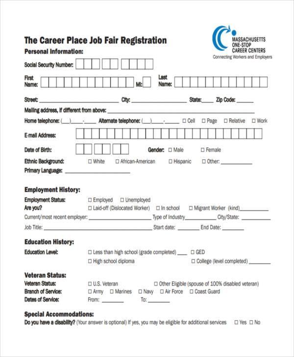 job fair placement registration form
