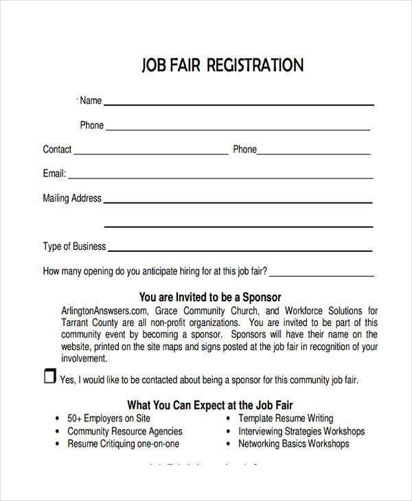 9 job registration form samples free sample example format download job fair registration form example maxwellsz