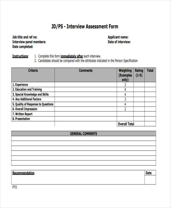 Interview Assessment Form Samples  Free Sample Example Format