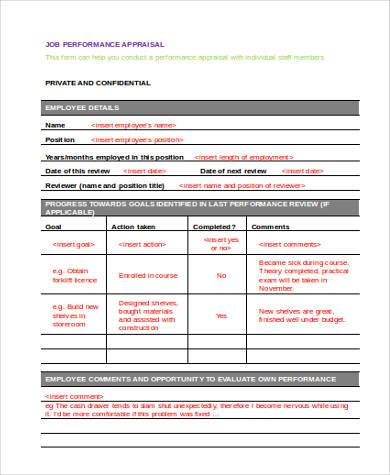 job performance appraisal form