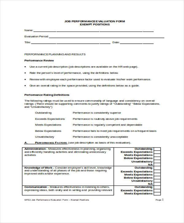 Performance Evaluation Form Samples  Free Sample Example