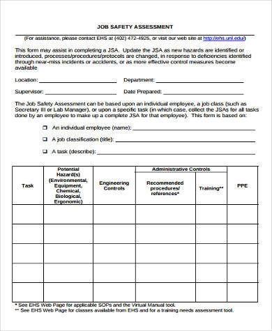 Sample safety assessment forms 8 free documents in word pdf job safety assessment form maxwellsz
