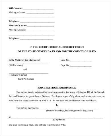 joint application for divorce form