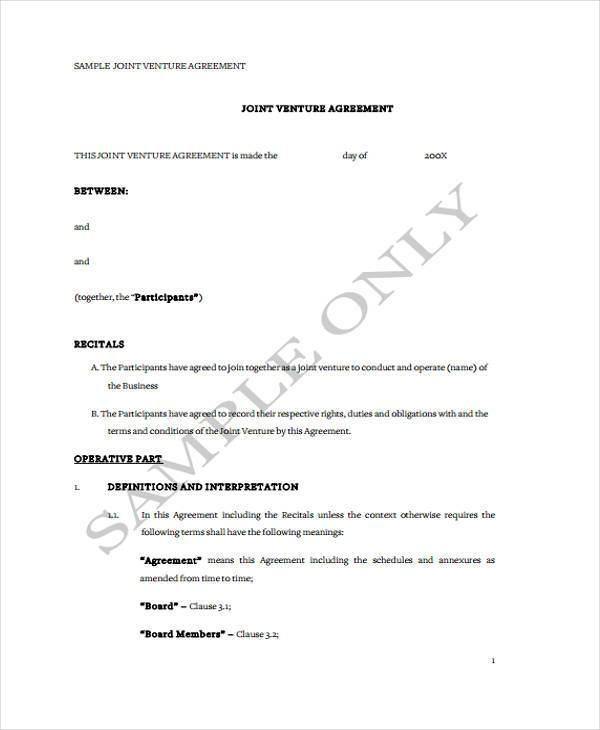 Sample Joint Venture Agreement Forms 8 Free Documents in Word PDF – Joint Venture Sample