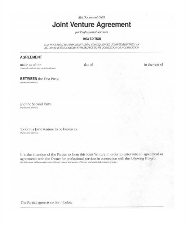 Joint Venture Agreement Short Form  Joint Venture Agreement Sample Word Format