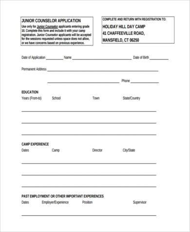 junior counselor application form