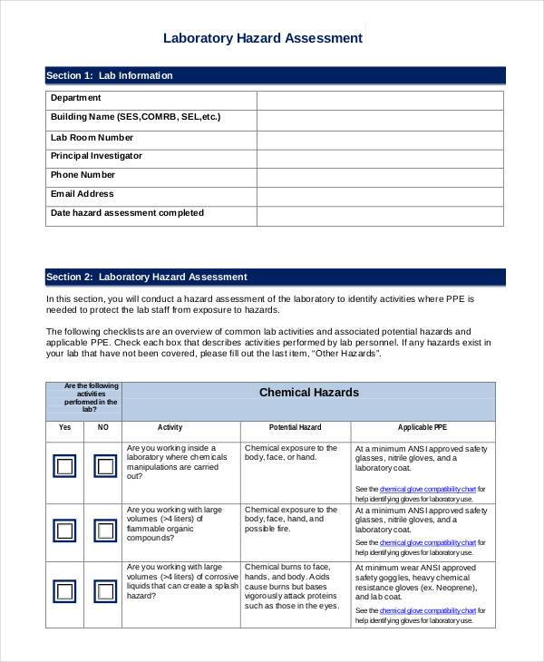 laboratory hazard assessment form