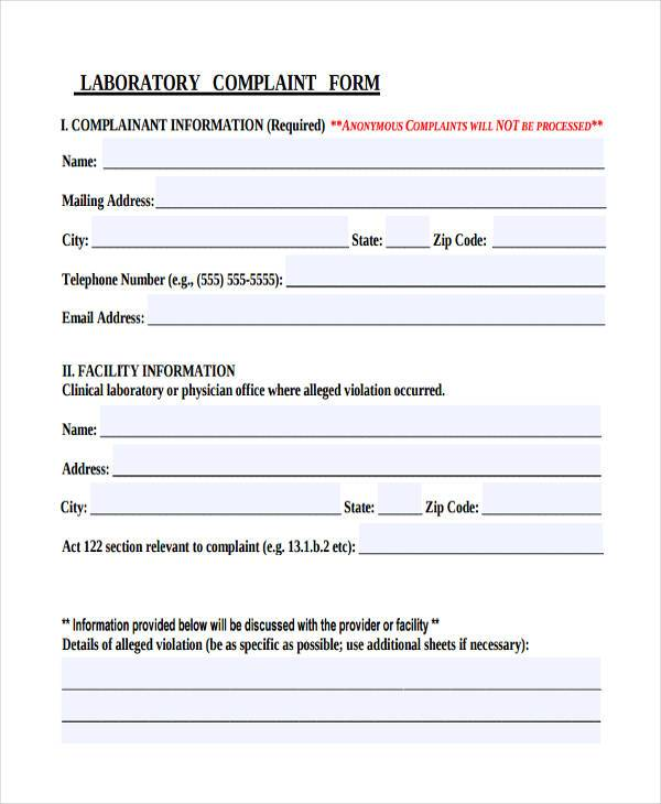 labs product complaint form example
