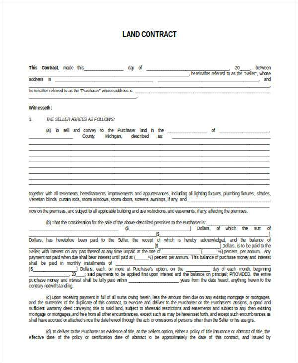 land contract blank form