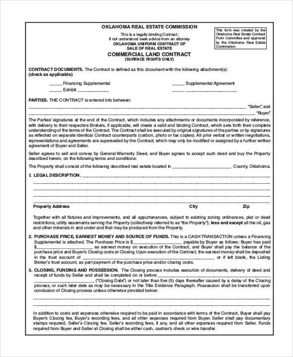 Land Contract Form Samples  Free Sample Example Format Download
