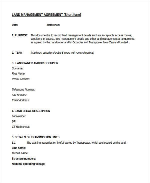 land management agreement form
