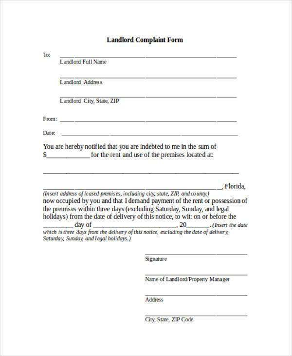 landlord complaint form in doc
