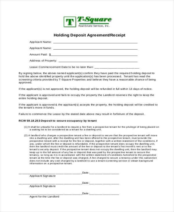 landlord holding deposit agreement form