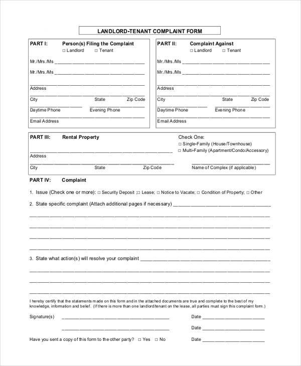 Landlord Tenant Complaint Form Sample