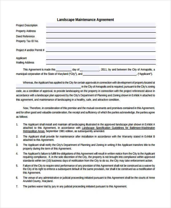 Landscape maintenance contract templates for Garden maintenance contract template