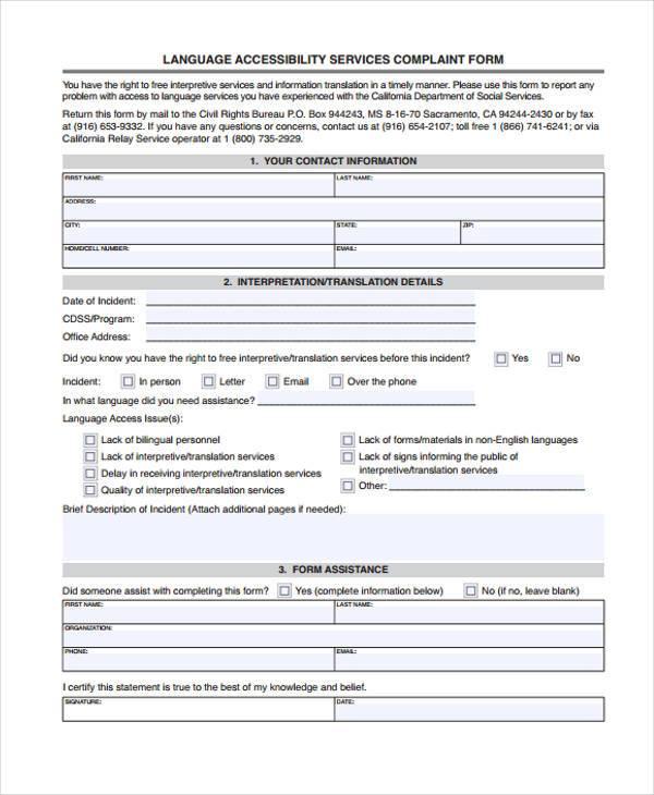 language accessibility service complaint form