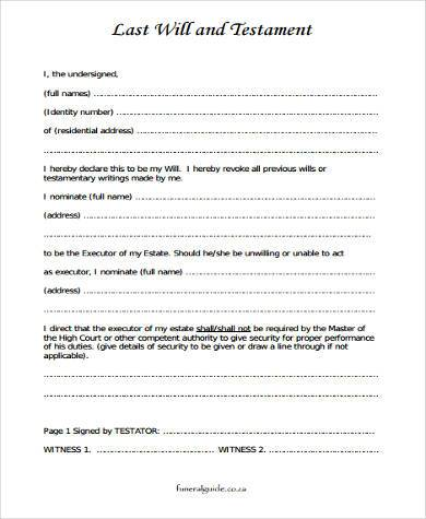 Sample last will and testament forms 6 free documents for Easy last will and testament free template