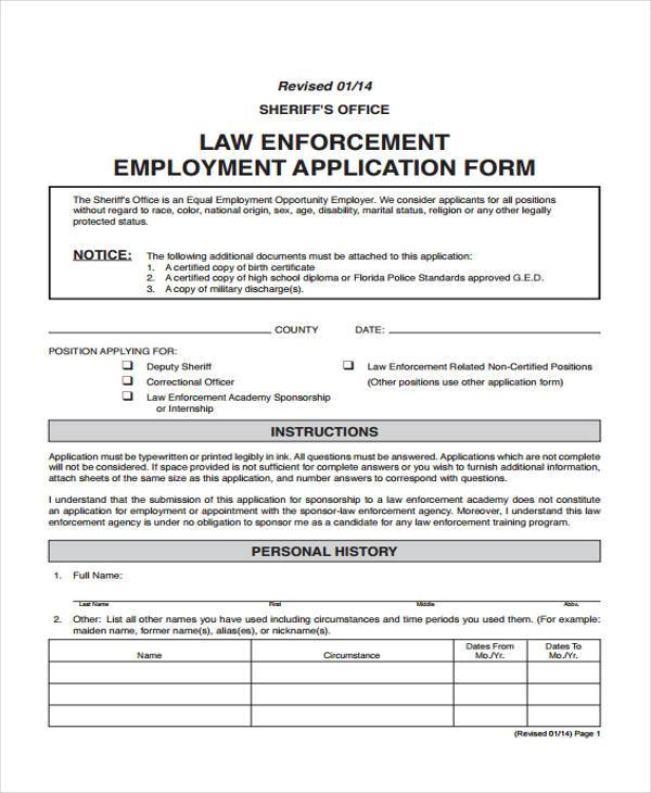 Employment Application Checklist Sample Employment