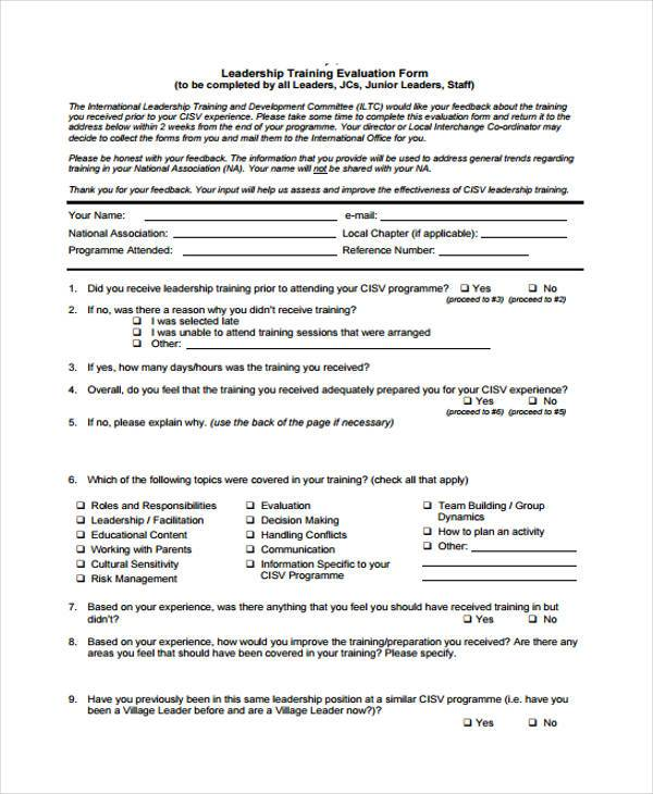 leadership training evaluation form 1