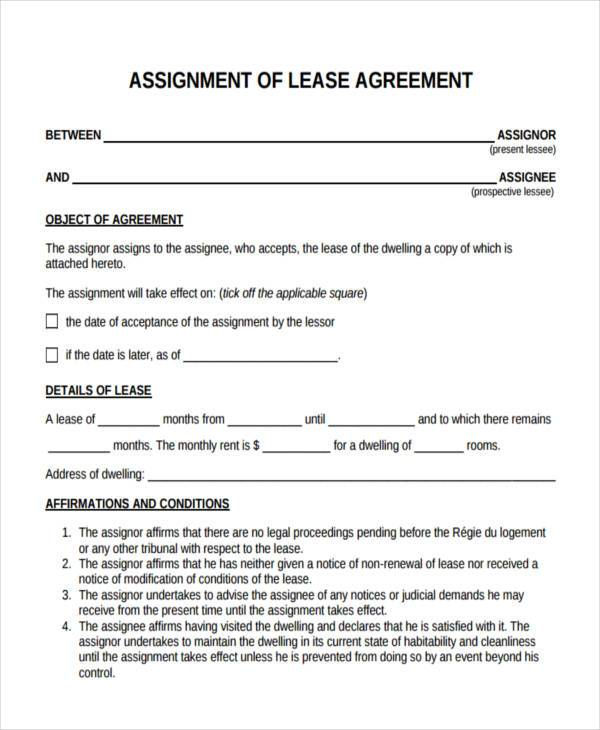 Marvelous Lease Assignment Agreement Form