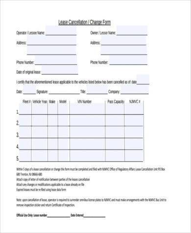 lease cancellation form example