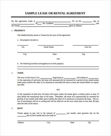 lease deposit agreement form