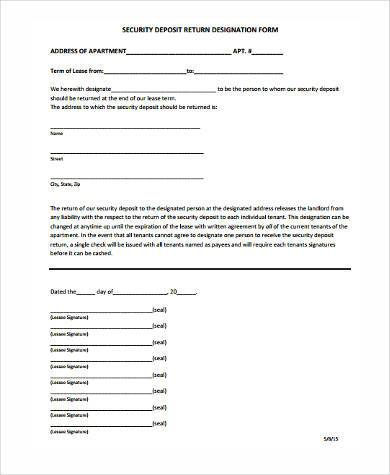 lease deposit return form