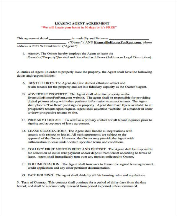 Agency Agreement Form Samples  Free Sample Example Format