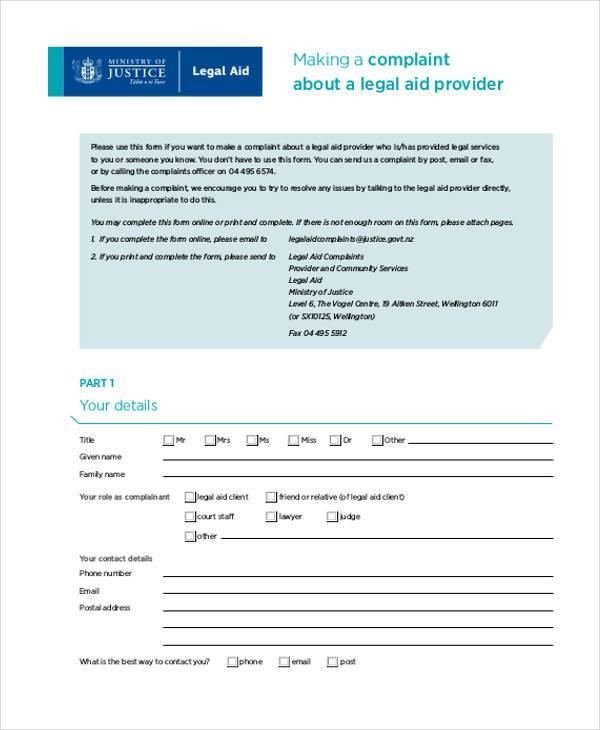 legal aid complaint form