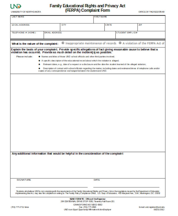legal complaint form sample