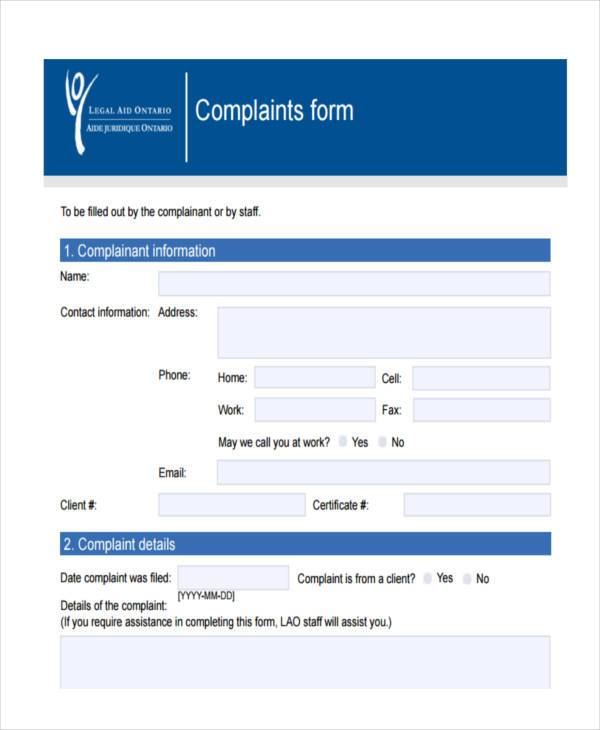 legal complaint sample form