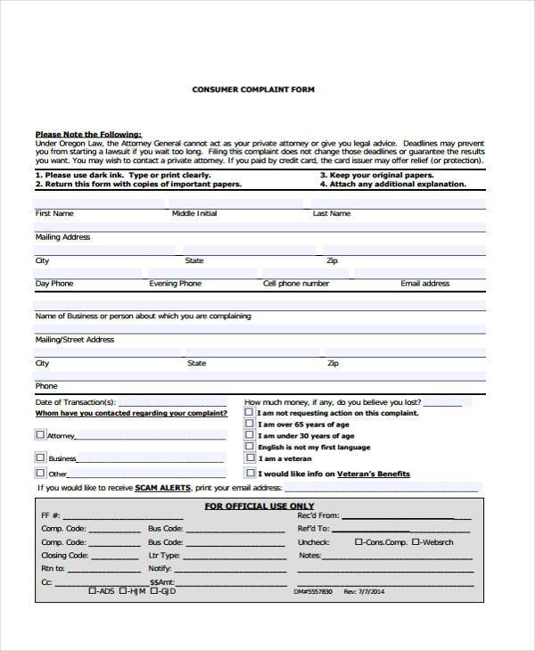 legal customer complaint form in pdf