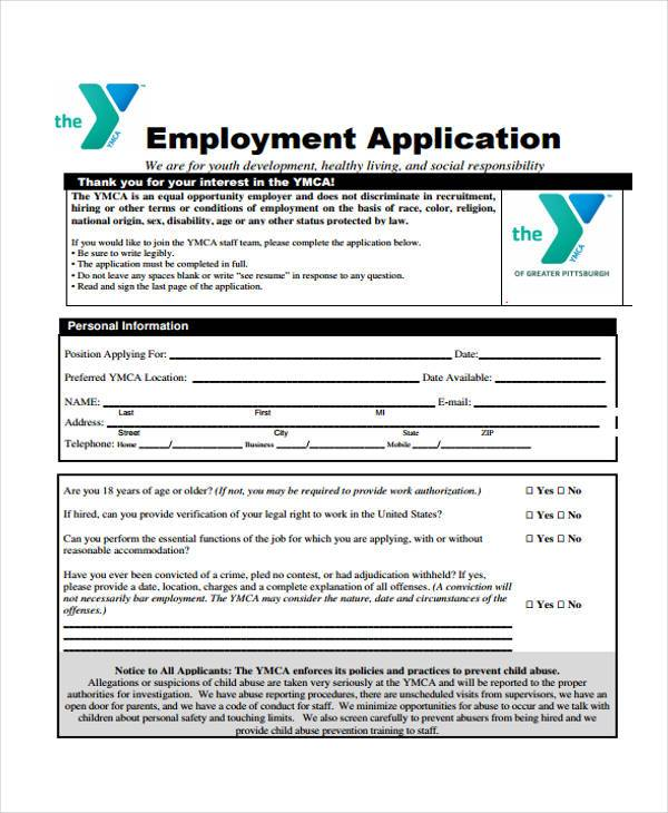 legal employment application form