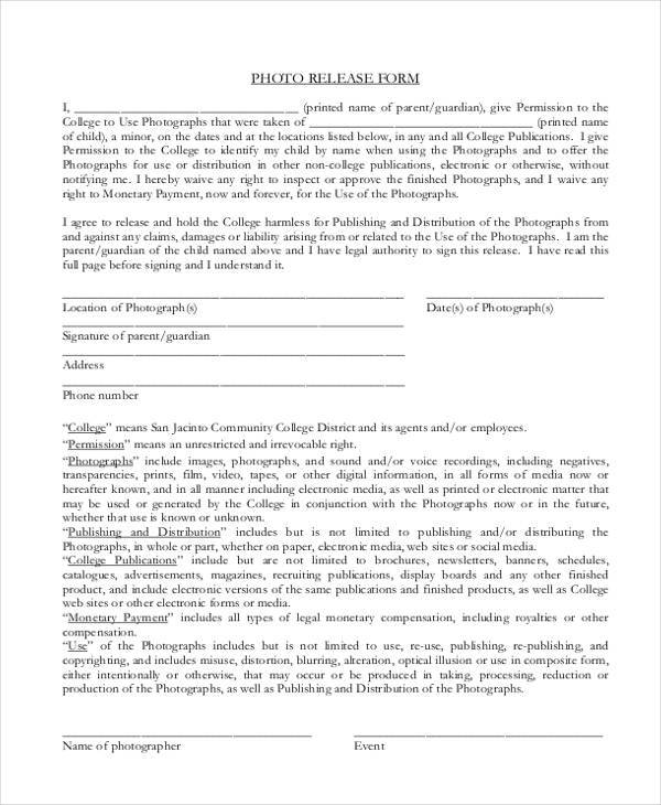7 Legal Release Form Samples Free Sample Example Format Download