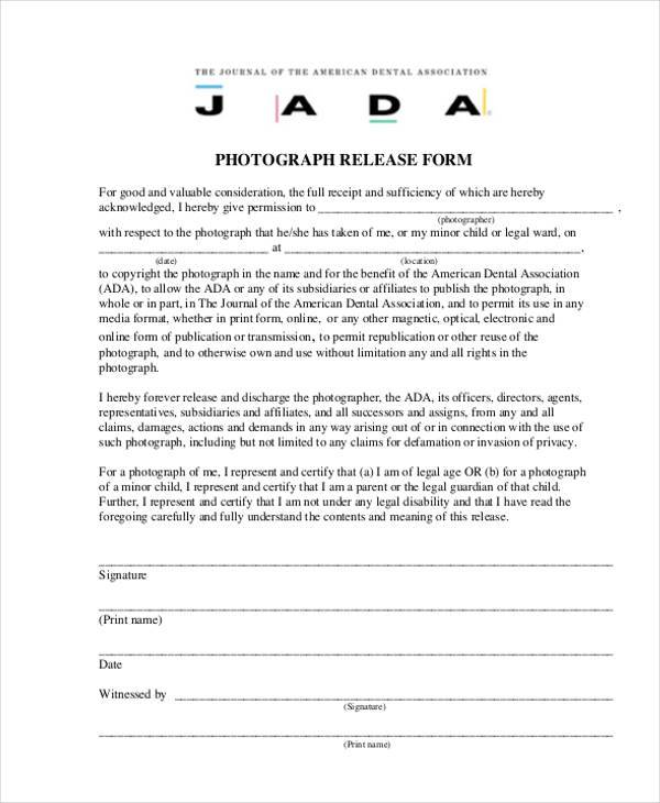 legal photography release form