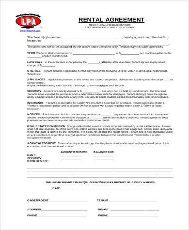legal rental agreement form
