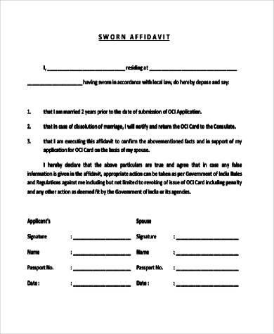 legal sworn affidavit form