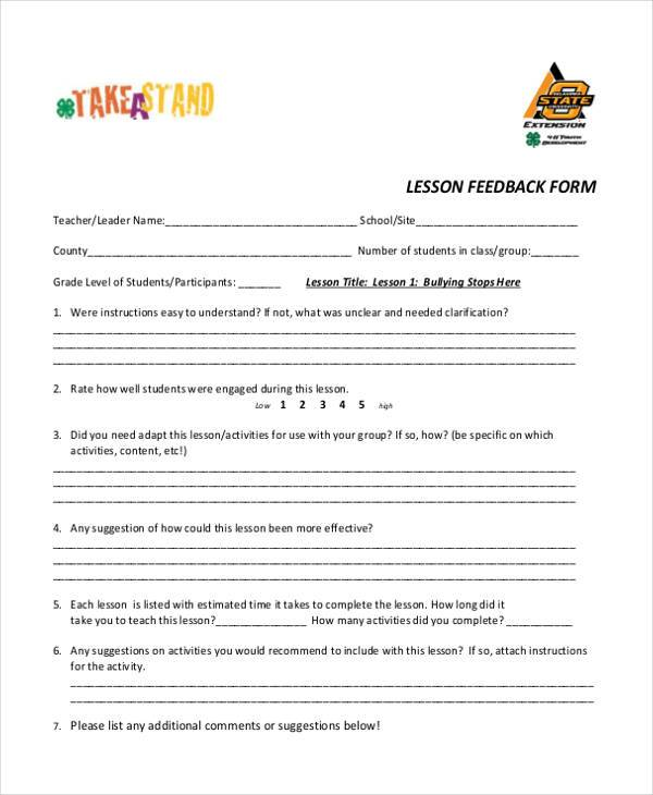 lesson feedback form example