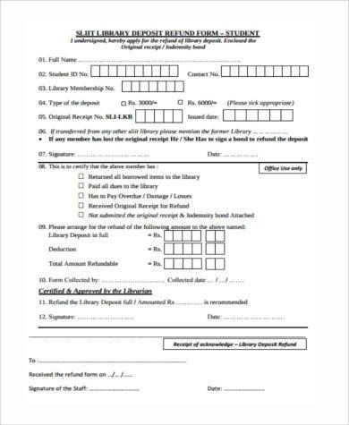 library deposit refund form