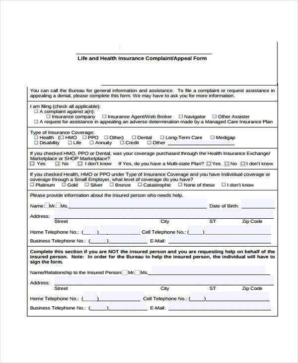 life insurance complaint form sample
