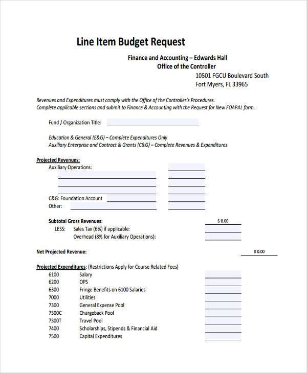 line item budget request form