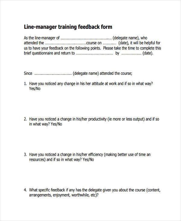 line manager training feedback form