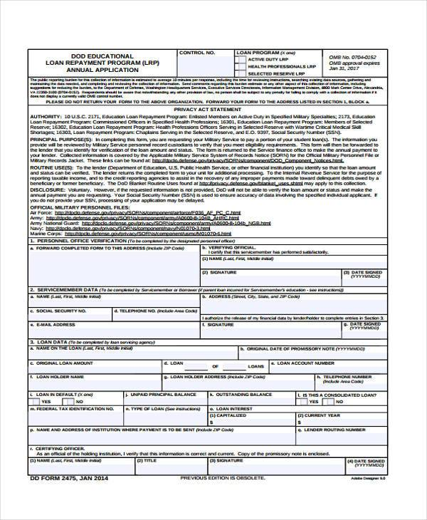 loan repayment form template