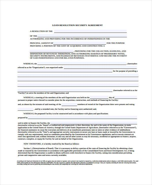 loan resolution security agreement form