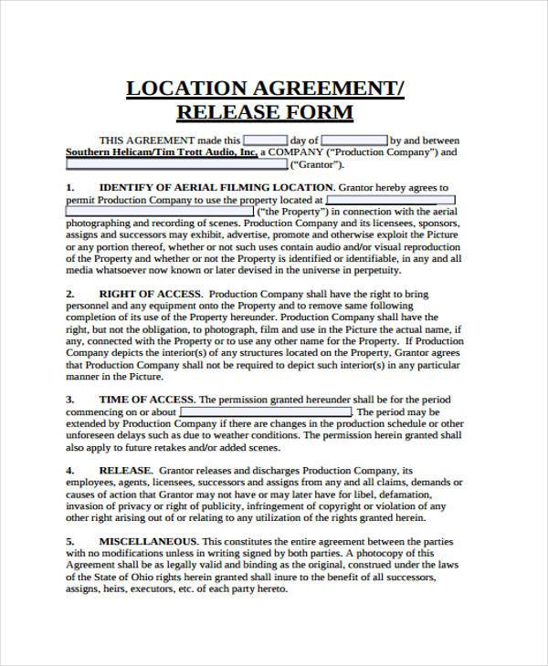 Great Location Agreement Release Form